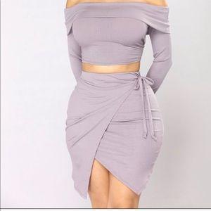 Fashion nova set light purple wrap around skirt